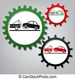 grigio, icone, segno., tre, rimorchio, collegato, ingranaggi, vector., camion