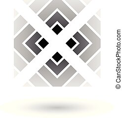 grigio, lettera x, icona, con, quadrato, e, triangoli, vettore, illustrazione