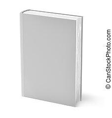 grigio, libro, isolato, bianco
