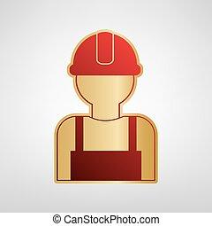 grigio, luce oro, segno., lavoratore, fondo., vector., adesivo, rosso, icona