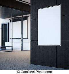 grigio, manifesto, wall., interpretazione, bianco, vuoto, 3d