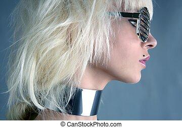 grigio, moda, argento, fondo, ragazza, biondo, futuristico, occhiali