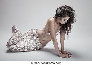 grigio, moda, fondo., colpo., mermaid., fantasia, studio