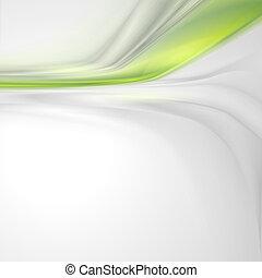 grigio, morbido, astratto, fondo, con, verde, elemento