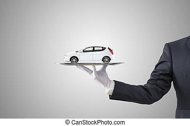grigio, offerta, automobile, sopra, fondo, uomo affari, bianco, vassoio, argento