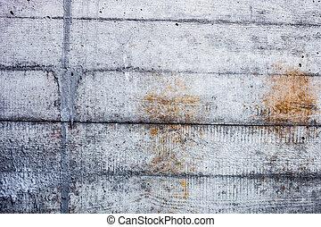 grigio, parete concreta, con, indurito, tracce, di, il, shuttering, stampi