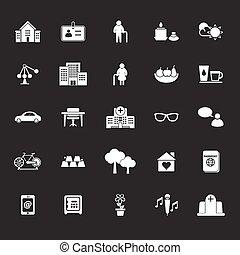 grigio, pensionamento, fondo, comunità, icone