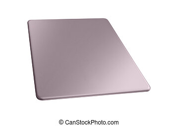 grigio, piastra, metallo, isolato, fondo, bianco