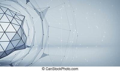 grigio, polygonal, rete, forma., astratto, 3d, render, animazione