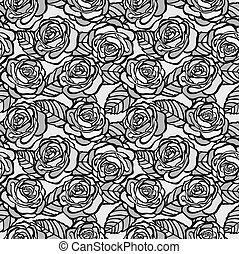 grigio, rose, seamless, fondo, vendemmia