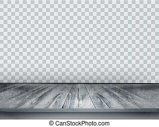 grigio, scala, fondo, pavimento, legno, indietro, wall., vector., trasparente
