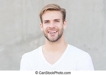 grigio, scelta, estate, non rasato, style., man., sexy, hairstyle., sorridente, attractiveness., barbuto, tipo, fondo, studente, faccia, fashion., ritratto, pride., macho, elegante, casuale, giovane, maschio, tuo, uomo