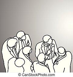 grigio, schizzo, destra, gruppo, affari, scarabocchiare, concept., someting, isolato, illustrazione, mano, dall'aspetto, fondo., vettore, nero, uomini affari, disegnato, linee