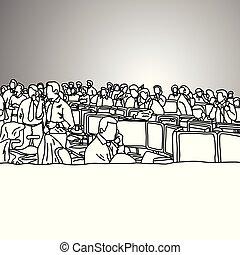 grigio, schizzo, occupato, ufficio affari, scarabocchiare, concept., linee, isolato, illustrazione, mano, commercianti, fondo., vettore, nero, disegnato, casato, vista