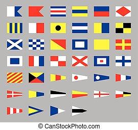grigio, segnale, isolato, marittimo, internazionale, fondo, nautico, bandiere
