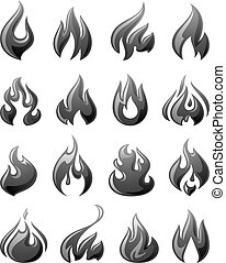 grigio, set, icone, fuoco, fiamme, 3d