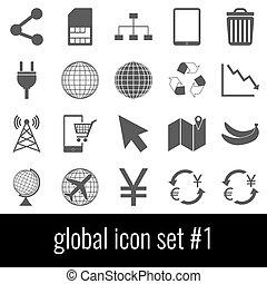 grigio, set, icone, global., fondo., bianco, 1., icona