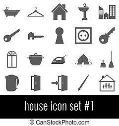 grigio, set, icone, house., fondo., bianco, 1., icona