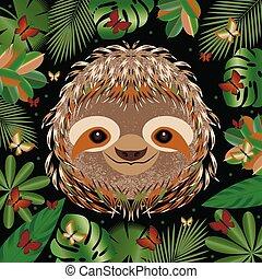 grigio, sloth., faccia, cornice, leaves., cartone animato,...