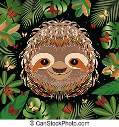 grigio, sloth., faccia, cornice, leaves., cartone animato, ...