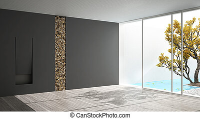 grigio, stanza, stagno, grande, panoramico, finestra, disegno, minimalista, interno, bianco, caminetto, giardino, vuoto, nuoto