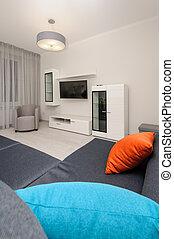 grigio, stanza, vivente, moderno, interno, bianco