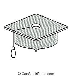 grigio, strisce, berretto, silhouette, graduazione