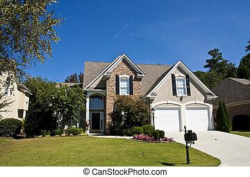 grigio, stucco, e, casa pietra