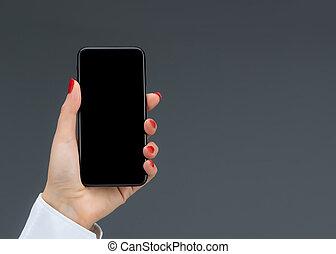 grigio, tenere mobile, isolato, mano, telefono, fondo, far male