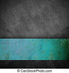 grigio, turchese, grunge, nastro, fondo