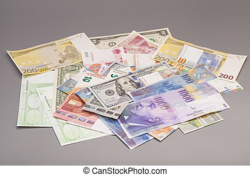 grigio, valute, isolato, backgrond, internazionale