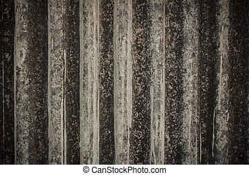 grigio, vecchio, verticale, amianto, tetto, fondo