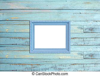 grigio, vendemmia, cornice, su, blu, legno, fondo