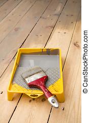 grigio, vernice, pavimento, legno, Verniciare, vassoio, asse, pennello
