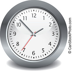 grigio, vettore, orologio