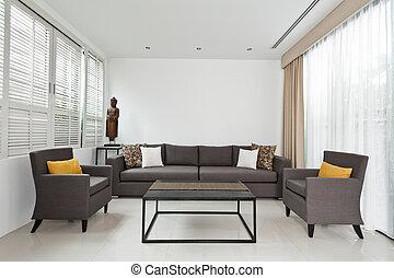 grigio, vivente, luminoso, stanza, divano