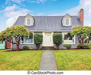 grigio, yard., autentico, casa