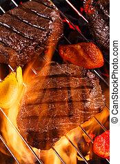 griglia, bistecca, manzo, barbecue