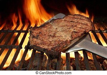 griglia, bistecca, manzo, spatola
