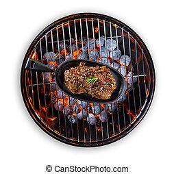 griglia, bistecca, pan, manzo, servito