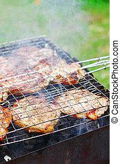 griglia, bistecche, barbecue