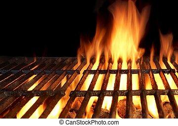 griglia, carbonella, caldo, fiammeggiante