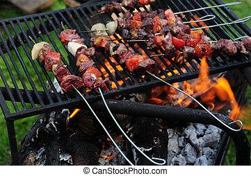 griglia, carne, barbecue