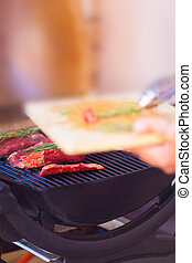 griglia, carne, closeup, preparare, fresco, bistecca