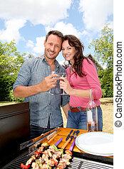 griglia, carne, coppia, cottura, barbecue, felice