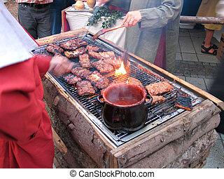 griglia, carne di maiale, carne, stile, spareribs, bbq, ...