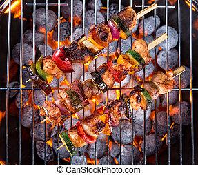 griglia, carne, spiedi