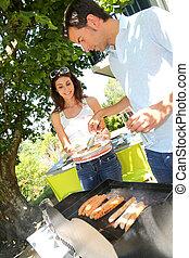 griglia, coppia, cottura, carne, barbecue
