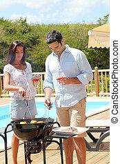 griglia, coppia, cottura, giovane, cena, barbecue