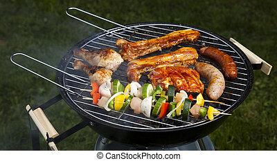 griglia, cottura, barbecue